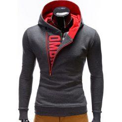 BLUZA MĘSKA Z KAPTUREM I NADRUKIEM DENIS - GRAFITOWO CZERWONA. Czerwone bluzy męskie rozpinane marki KALENJI, m, z elastanu, z długim rękawem, długie. Za 79,00 zł.