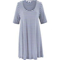 Tunika shirtowa, krótki rękaw bonprix niebieski indygo - kremowy w paski. Białe tuniki damskie bonprix, w paski, z krótkim rękawem. Za 89,99 zł.