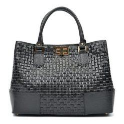 Torebki i plecaki damskie: Skórzana torebka w kolorze czarnym – (S)27 x (W)38 x (G)15 cm