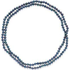 Naszyjniki damskie: Naszyjnik z pereł w kolorze granatowym – dł. 90 cm