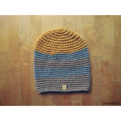 Czapka 65% wełna 35% alpaka #szaryżółtybeż. Brązowe czapki zimowe damskie marki Pakamera, z wełny. Za 132,00 zł.