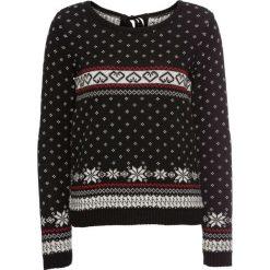 Sweter bonprix czarno-czerwono-biały wzorzysty. Czarne swetry klasyczne damskie bonprix. Za 59,99 zł.