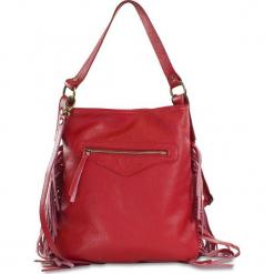 """Skórzana torebka """"Carmen"""" w kolorze czerwonym - 34 x 33 x 8 cm. Czerwone torebki klasyczne damskie Spécial maroquinerie, w paski, z materiału. W wyprzedaży za 309,95 zł."""