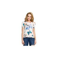 Bluzki Moe  M220 Bluzka w motyle z krótkimi rękawami. Szare bluzki z odkrytymi ramionami marki Moe, l. Za 95,00 zł.