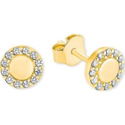 Biżuteria i zegarki: Pozłacane kolczyki-wkrętki z cyrkoniami