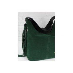 Zamsz-lico Shopper boho butelkowa zieleń GOLD. Zielone shopper bag damskie marki Fabiola, z materiału, duże, zamszowe. Za 281,00 zł.