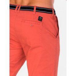 KRÓTKIE SPODENKI MĘSKIE BERMUDY P402 - CEGLASTE. Czerwone bermudy męskie Ombre Clothing, z bawełny. Za 47,20 zł.