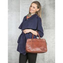 Płaszcze damskie pastelowe: Płaszcz krótki z paskiem wiązany granatowy