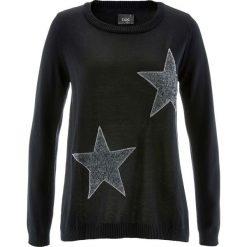 Sweter z długim rękawem bonprix czarny. Czarne swetry klasyczne damskie bonprix. Za 89,99 zł.