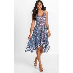 Sukienki: Sukienka z dżerseju z nadrukiem i aplikacją z perełek bonprix ciemnoniebiesko-turkusowy