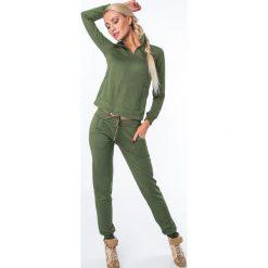 Spodnie dresowe z prążkowanego materiału khaki MR15672. Brązowe spodnie dresowe damskie Fasardi, l, z dresówki. Za 79,00 zł.