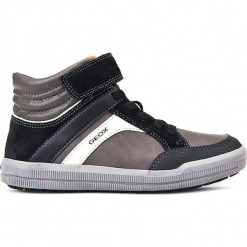"""Sneakersy """"Arzach"""" w kolorze szaro-czarnym. Niebieskie trampki chłopięce marki geox kids, z gumy. W wyprzedaży za 142,95 zł."""