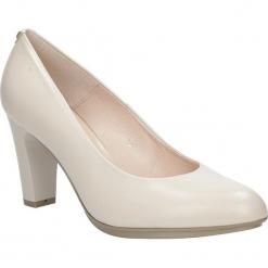 Beżowe czółenka skórzane na słupku Casu 7013/203. Brązowe buty ślubne damskie Casu, na słupku. Za 238,99 zł.