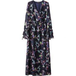 Długie sukienki: Długa sukienka w kwiatki, troczki przy rękawach