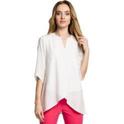 SARITA Zwiewna bluzka z warstwami nachodzącymi na siebie - ecru. Szare bluzki asymetryczne marki Moe, z tkaniny, z asymetrycznym kołnierzem. Za 109,99 zł.