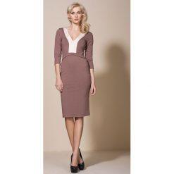 Odzież damska: Mocca Kobieca Wizytowa Sukienka przed Kolano