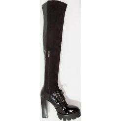 Lost Ink TYLA MIX CLEAT Kozaki na obcasie black. Czarne buty zimowe damskie Lost Ink, z materiału, na obcasie. W wyprzedaży za 215,40 zł.