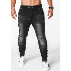 SPODNIE MĘSKIE JEANSOWE JOGGERY P651 - CZARNE. Czarne joggery męskie Ombre Clothing, z bawełny. Za 79,00 zł.