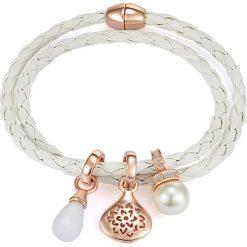 Bransoletki damskie: Skórzana bransoletka w kolorze białym z zawieszkami Swarovskiego