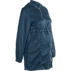 Długa kurtka ciążowa bonprix ciemnoniebieski. Niebieskie kurtki ciążowe marki bonprix, z materiału, z dekoltem w serek. Za 124,99 zł.