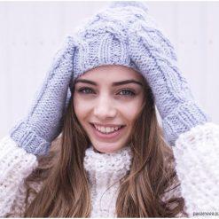 Czapki zimowe damskie: Komplet Lucy/ Czapka + Rękawiczki BŁĘKIT RÓŻ BEŻ CIEMNY SZARY