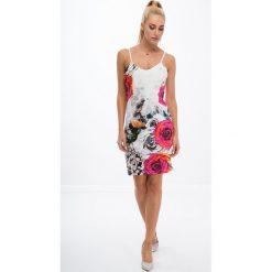 Drukowana sukienka w kwiaty / amarant 8254. Szare sukienki marki Fasardi, s, w kwiaty. Za 49,00 zł.
