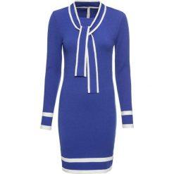 Sukienka bonprix błękit królewski - biały. Niebieskie sukienki dzianinowe bonprix, z kokardą. Za 129,99 zł.