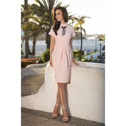 Sukienki: Modna elegancka sukienka pudrowy róż