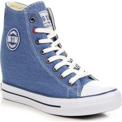 Buty ślubne damskie: Niebieskie trampki damskie na koturnie Big Star U274901