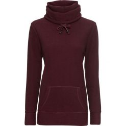 Swetry klasyczne damskie: Sweter z polaru, długi rękaw bonprix czerwony klonowy - czarny w paski