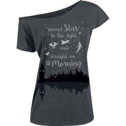 Piotruś Pan Tinker Bell - Neverland - Second Star Koszulka damska odcienie szarego. Szare bluzki nietoperze Piotruś Pan, xxl, z nadrukiem, retro, z dekoltem w łódkę. Za 79,90 zł.