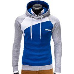 BLUZA MĘSKA Z KAPTUREM MIGUEL - NIEBIESKA. Niebieskie bluzy męskie rozpinane Ombre Clothing, m, w kolorowe wzory, z bawełny, z kapturem. Za 79,00 zł.