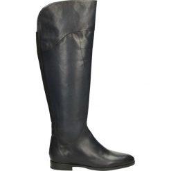 Kozaki ocieplane - 45803FY P BLU. Czarne buty zimowe damskie marki Kazar, ze skóry, na wysokim obcasie. Za 329,00 zł.