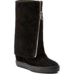 Kozaki R.POLAŃSKI - 0888 Czarny Zamsz. Czarne buty zimowe damskie marki R.Polański, ze skóry, na obcasie. W wyprzedaży za 329,00 zł.