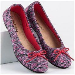 Baleriny damskie: Tekstylne baleriny w prążki MCKEY różowe