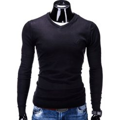 Swetry klasyczne męskie: SWETER MĘSKI E74 – CZARNY