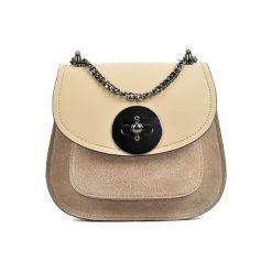 Torebki klasyczne damskie: Skórzana torebka w kolorze beżowym – (S)19 x (W)16,5 x (G)10 cm