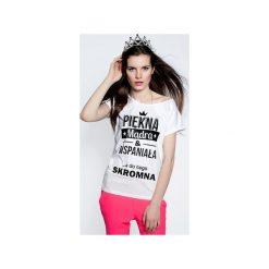 Koszulka Piękna i Mądra. Białe t-shirty damskie ŁAP NAS, m, z nadrukiem. Za 89,00 zł.