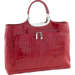 Torebki klasyczne damskie: Skórzana torebka w kolorze czerwonym – 37 x 37 x 10 cm