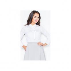 Bluzka M001 Biały. Szare bluzki longsleeves marki FIGL, m, z bawełny, eleganckie, z asymetrycznym kołnierzem. Za 76,00 zł.