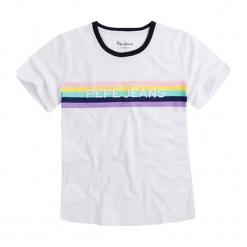 T-shirt w kolorze białym. Białe t-shirty damskie Pepe Jeans, xs, z haftami, z okrągłym kołnierzem. W wyprzedaży za 109,95 zł.