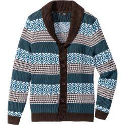 Sweter rozpinany Regular Fit bonprix ciemnobrązowo-niebieskozielony. Brązowe kardigany męskie bonprix, l. Za 44,99 zł.