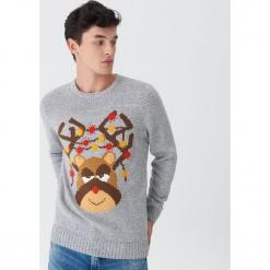 Świecący sweter z reniferem - Szary. Szare swetry klasyczne męskie House, l. Za 99,99 zł.
