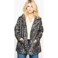 Płaszcze damskie pastelowe: Płaszcz przeciwdeszczowy z kapturem w panterkę