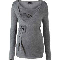 Sweter ciążowy i do karmienia bonprix szary melanż. Szare swetry klasyczne damskie bonprix, z okrągłym kołnierzem, moda ciążowa. Za 99,99 zł.