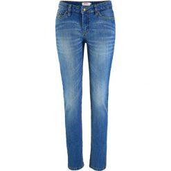 """Wygodne dżinsy ze stretchem SKINNY bonprix niebieski """"used"""". Zielone jeansy damskie marki bonprix, w kropki, z kopertowym dekoltem, kopertowe. Za 69,99 zł."""