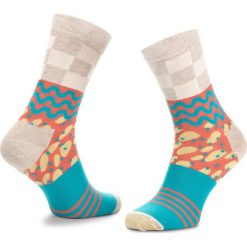 Skarpety Wysokie Unisex HAPPY SOCKS - MIM01-1000 Kolorowy. Szare skarpetki męskie Happy Socks, w kolorowe wzory, z bawełny. Za 34,90 zł.