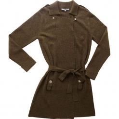 Płaszcz kaszmirowy w kolorze oliwkowym. Brązowe płaszcze damskie wełniane marki Ateliers de la Maille, w paski. W wyprzedaży za 1046,95 zł.