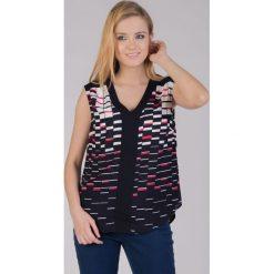 Bluzki asymetryczne: Czarna bluzka na ramiączka z kolorowym printem QUIOSQUE