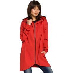 Bluzy damskie: Czerwona Bluza Asymetryczna z Kapturem